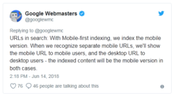 Google Mobile First Index: URLs with mobile-first indexing