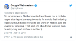 Google Mobile First Index: Mobile-friendliness is not required
