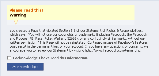 Facebook Warning 1 - Facebook Purity Greasemonkey Script