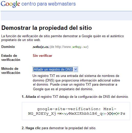 Centro para webmasters de Google - verificación por entrada TXT en DNS