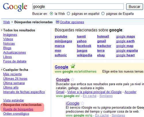 Google: Búsquedas relacionadas