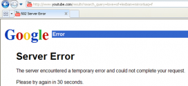 Error 502 del servidor de YouTube - Server Error