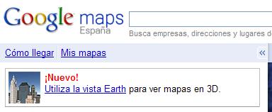 Google Earth disponible en Google Maps