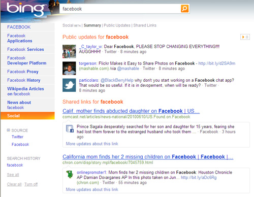 Bing Social Search - Ejemplo