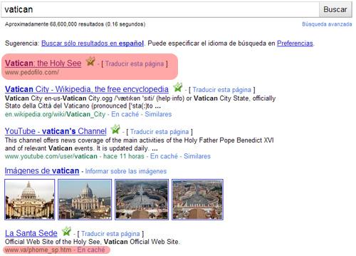 Búsqueda de Vatican en Google - pedofilo.com - Segundo resultado