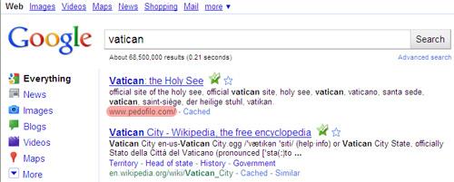 La búsqueda de Vatican en Google lleva a pedofilo.com