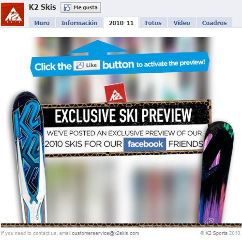 K2 Skis Facebook (no me gusta)
