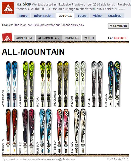 K2 Skis Facebook (me gusta)