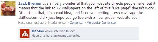 K2 Skis Facebook (críticas)