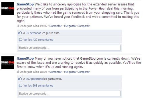 Gamestop - Criticas en Facebook