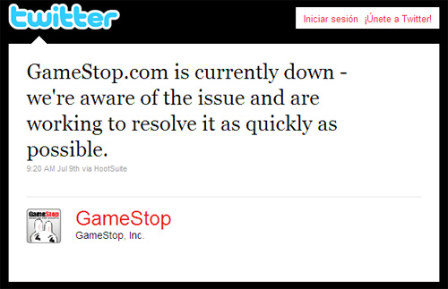 Gamestop answer in Twitter