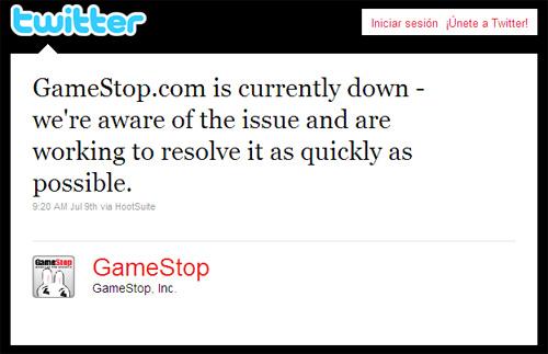 Gamestop answer in Twitter