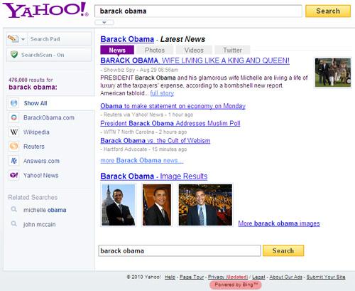 Yahoo ya muestra los resultados de búsqueda de Bing