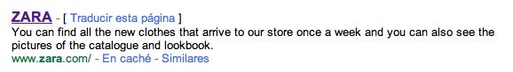 Nueva tienda de Zara en Internet: Meta description