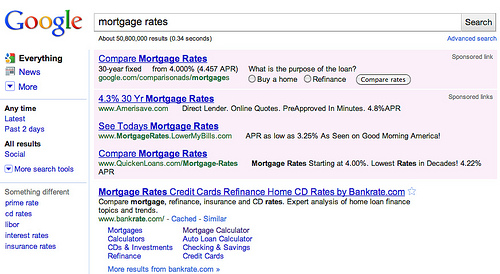 Búsqueda en Google por Mortgage Rates