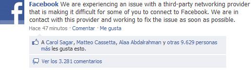 Facebook está caído - Información en la página de Facebook en Facebook
