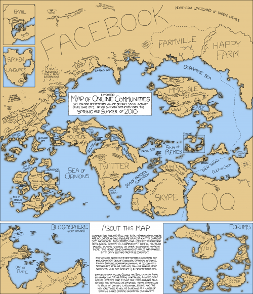 Interesting illustration of what online communities would look like if they were countries: 2010