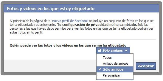 Opciones de privacidad de Facebook - Etiquetado