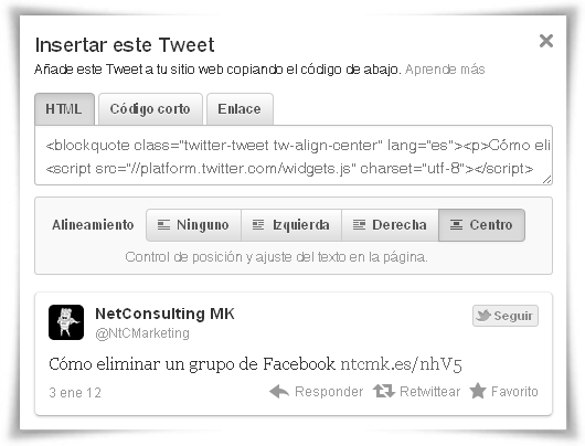 Ventana de diálogo de Insertar Tweet
