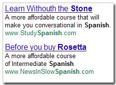 Rosetta Stone - Anuncios de competidores (4ene11)