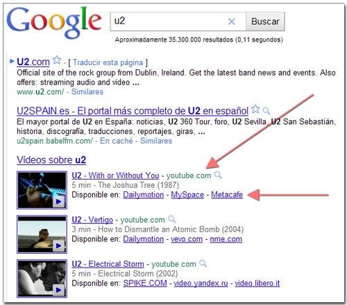 Búsqueda vídeos Youtube y alternativas en Google