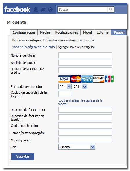Confirmar cuenta de Facebook - Por tarjeta de crédito