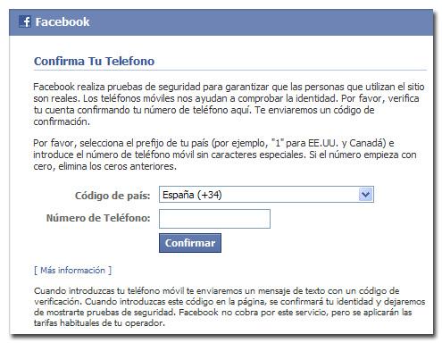 Confirmar cuenta de Facebook - Por teléfono 1/3