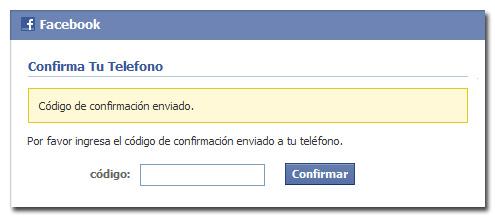Confirmar cuenta de Facebook - Por teléfono 2/3