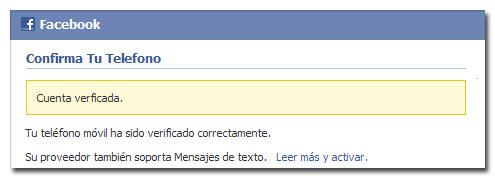 Confirmar cuenta de Facebook - Por teléfono 3/3
