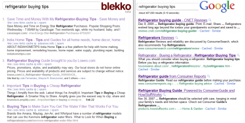 Blekko - Google - Refrigerators Buying Tips