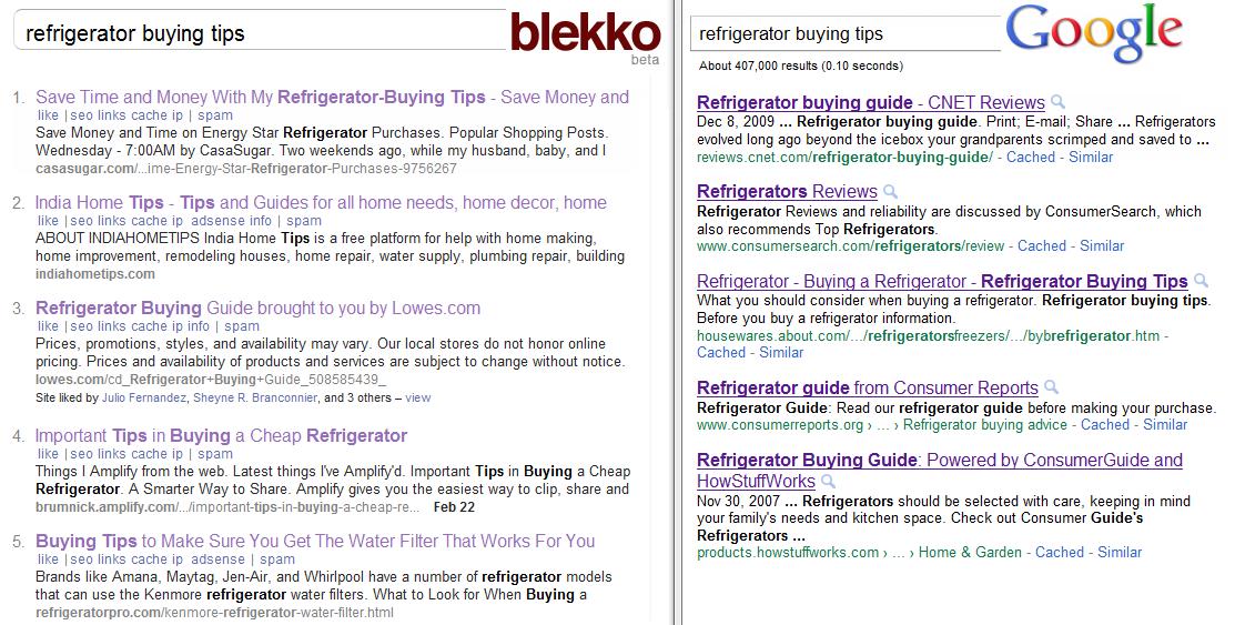 Blekko - Google - Refrigerators Buying Tips