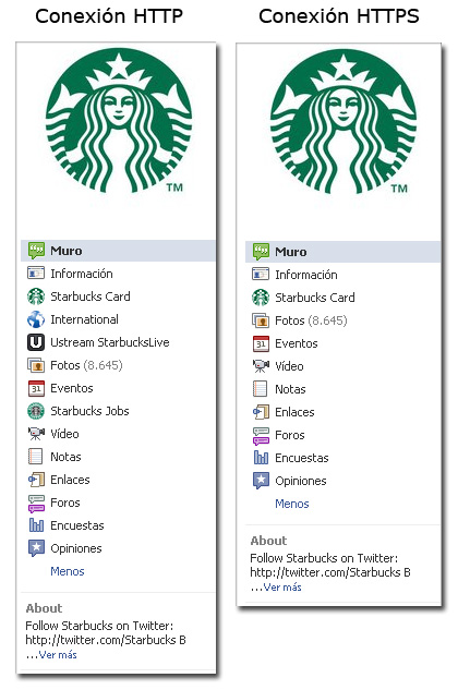 Página Facebook Starbucks HTTP y HTTPS