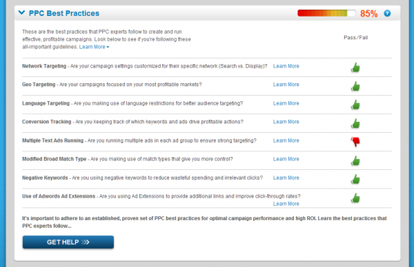 WordStream AdWords Performance Grader (pantallazos de Search Engine Land)