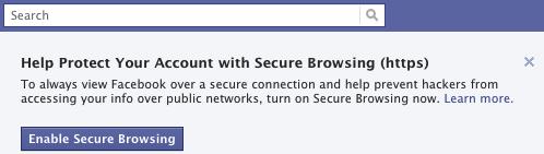 Facebook HTTPS PROMPT