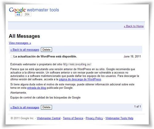 Google Webmaster Tools avisa de versión antiguas de WordPress