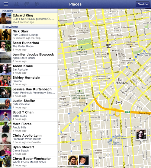 Facebook for iPad Places Check-In Map