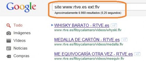 Búsqueda por archivos flv en la web de RTVE. Fuente: Blog www.elladodelmal.com