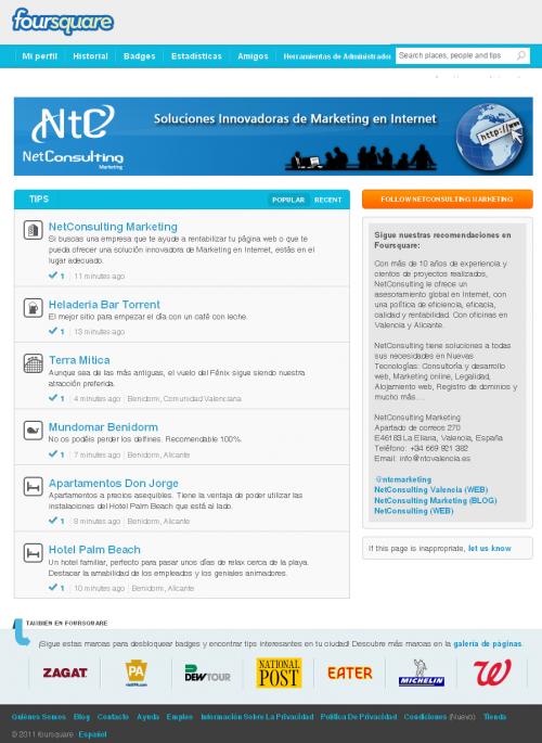 Página Foursquare de NetConsulting Marketing
