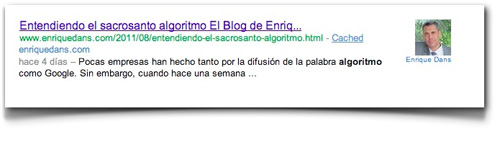 Enrique Dans: http://www.enriquedans.com/2011/08/authorship-markup-estableciendo-la-autoria-en-la-red-y-apalancando-estrategias-en-el-buscador.html