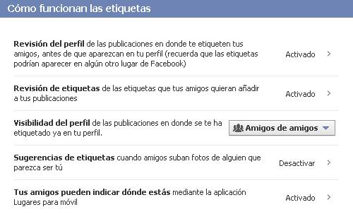 Privacidad de las etiquetas de Facebook