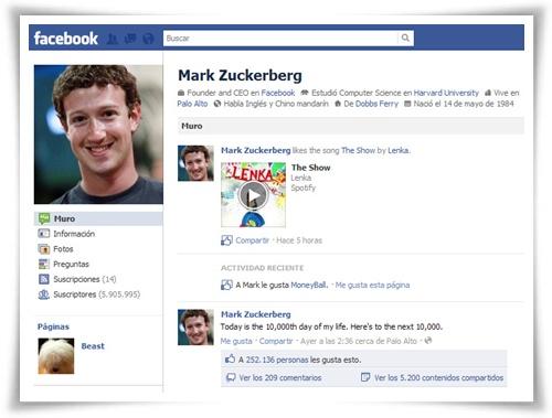 Perfil personal de Mark Zuckerberg en Facebook