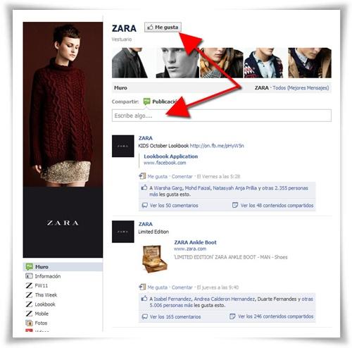 Página de Zara en Facebook