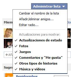 Administración de listas de Facebook -2