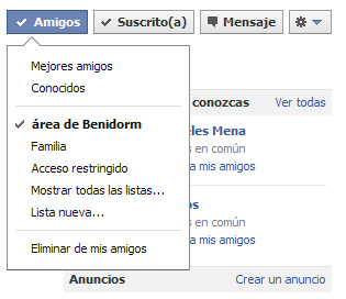 Listas en Facebook: Vista de perfil de amigos