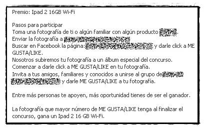 Concurso Facebook que incumple las normas