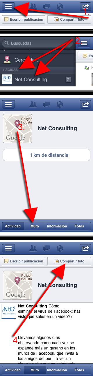 Cómo publicar una foto en una página de Facebook con la versión 4.1 de la aplicación de Facebook para iPhone