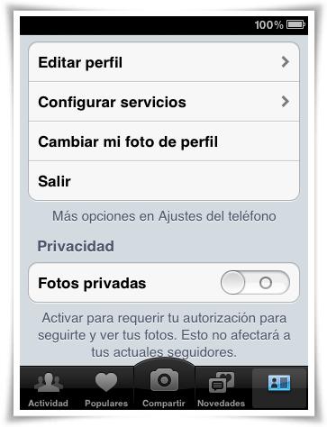 Opciones de la aplicación de Instagram para iPhone/iPad