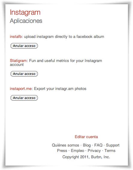 Revocar acceso aplicaciones de terceros a Instagram