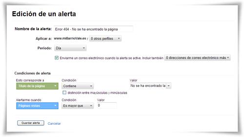 Alertas personalizadas de Google Analytics