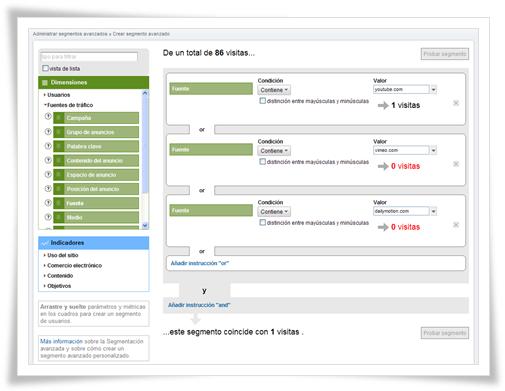 Segmentos avanzados - Google Analytics